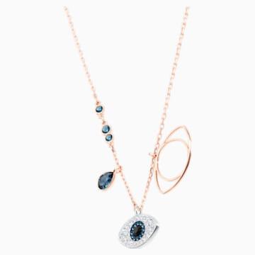 Řetízek s přívěsky se symbolem modrého oka, Modrý, Smíšená kovová úprava - Swarovski, 5172560