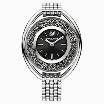 Montre Crystalline Oval, Bracelet en métal, noir, ton argenté - Swarovski, 5181664