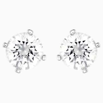 Attract Pearl Pierced Earrings, White, Rhodium plated - Swarovski, 5183618