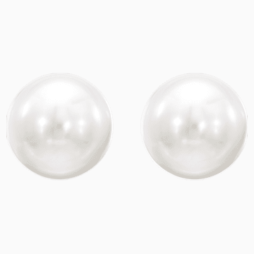 Attract 穿孔耳环, 白色, 镀铑 - Swarovski, 5183618