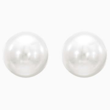 Pendientes Attract Pearl, blanco, Baño de Rodio - Swarovski, 5183618