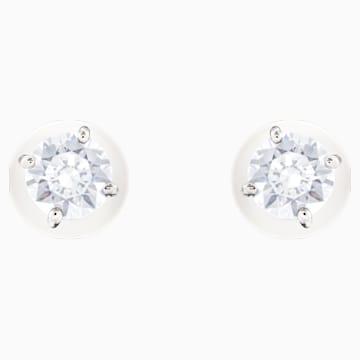 Vpichovací náušnice s perlou Attract, Bílé, Rhodiem pokovené - Swarovski, 5183618