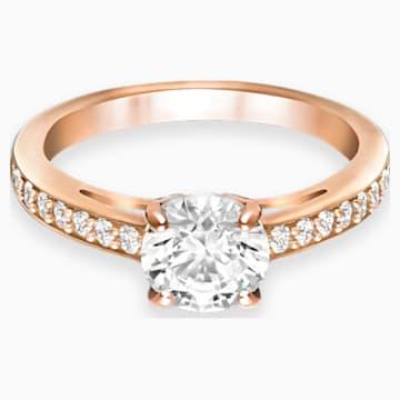 Attract Round 戒指, 白色, 鍍玫瑰金色調 - Swarovski, 5184204
