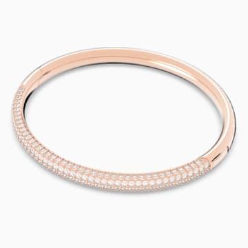 Bracelet-jonc Stone, blanc, Métal doré rose - Swarovski, 5184516