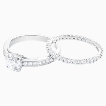 Attract 戒指套装, 白色, 镀铑 - Swarovski, 5184979