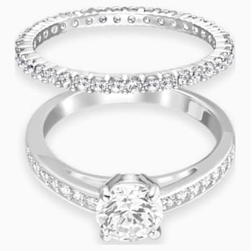 Attract 戒指套裝, 白色, 鍍白金色 - Swarovski, 5184981
