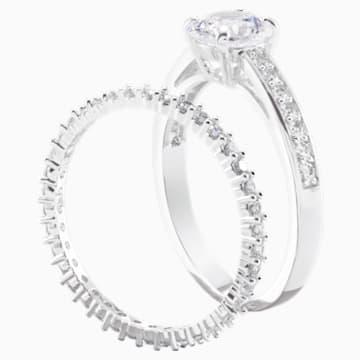 Attract 戒指套装, 白色, 镀铑 - Swarovski, 5184981