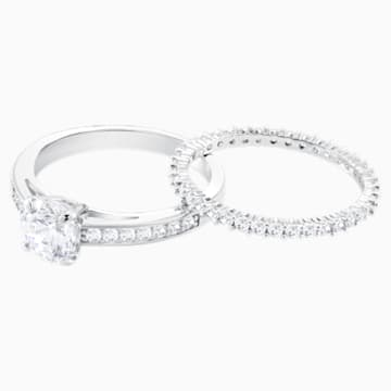 Sada prstenů Attract, bílá, rhodiovaná - Swarovski, 5184982