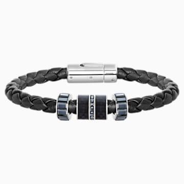 Braccialetto Diagonal, Pelle, nero, acciaio inossidabile - Swarovski, 5185336