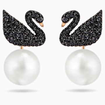 Swarovski Iconic Swan 穿孔耳环花托, 黑色, 镀玫瑰金色调 - Swarovski, 5193949