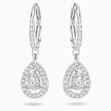 Angelic 穿孔耳環, 白色, 鍍白金色 - Swarovski, 5197458
