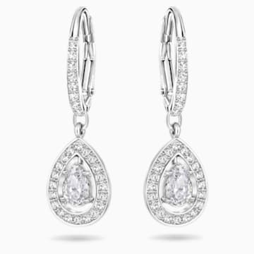 Angelic Pierced Earrings, White, Rhodium plated - Swarovski, 5197458