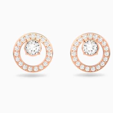 Creativity Circle 穿孔耳环, 白色, 镀玫瑰金色调 - Swarovski, 5199827