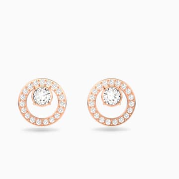Pendientes Creativity Circle, blanco, Baño en tono Oro Rosa - Swarovski, 5199827