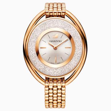 Ceas Crystalline Oval, brățară de metal, alb, nuanță aur roz aplicată prin depunere fizică de vapori - Swarovski, 5200341