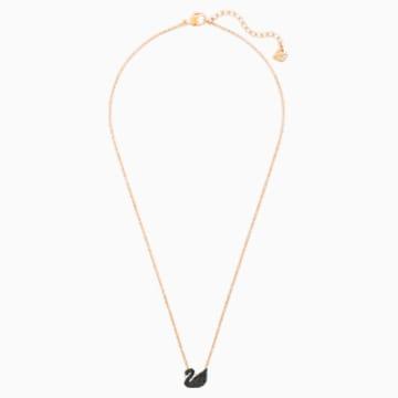 Přívěsek Iconic Swan, Černý, Pozlacený růžovým zlatem - Swarovski, 5204133