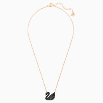Colgante Swarovski Iconic Swan, negro, Baño en tono Oro Rosa - Swarovski, 5204134