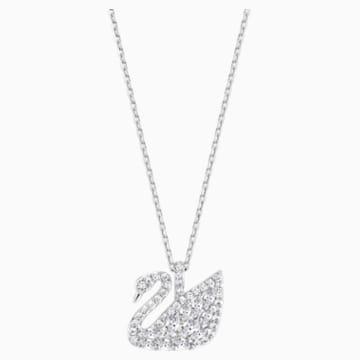 Swan Lake Pendant, Small, White, Rhodium plating - Swarovski, 5208071