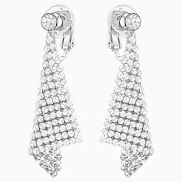 Fit Clip Earrings, White, Rhodium plated - Swarovski, 5214317