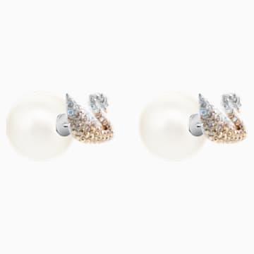 Swarovski Iconic Swan 穿孔耳環, 多色設計, 鍍白金色 - Swarovski, 5215037