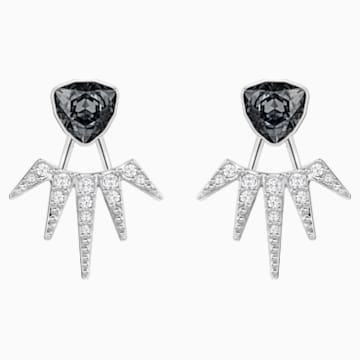 Fantastic Pierced Earring Jackets, Gray, Rhodium Plating - Swarovski, 5216636
