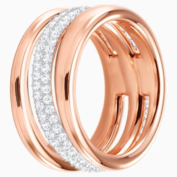 Exact Ring, White, Rose-gold tone plated - Swarovski, 5221567