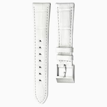 18mm Watch strap, Leather with stitching, White, Stainless Steel - Swarovski, 5222595
