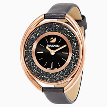 Crystalline Oval Uhr, Lederarmband, grau, roséfarben - Swarovski, 5230943