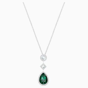 Fluo 链坠, 绿色, 镀铑 - Swarovski, 5231185