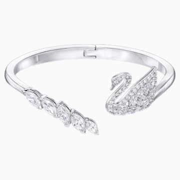Swan Lake Bangle, White, Rhodium plated - Swarovski, 5231330
