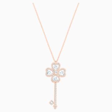 Deary Key Pendant, Large, White, Rose-gold tone plated - Swarovski, 5235026