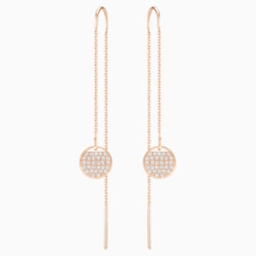 Ginger Chain Pierced Earrings, White, Rose-gold tone plated - Swarovski, 5253285