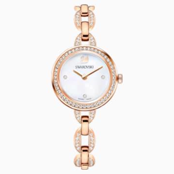 Aila Mini Uhr, Metallarmband, Rosé vergoldetes PVD-Finish - Swarovski, 5253329