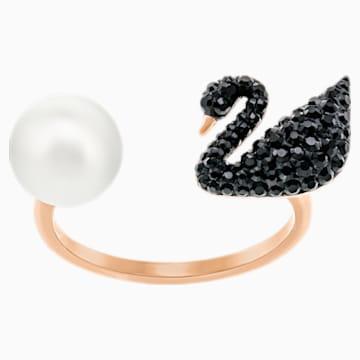 Bague ouverte Iconic Swan, noir, Métal doré rose - Swarovski, 5256266
