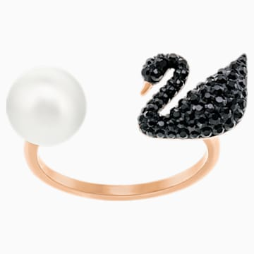 Iconic Swan Open Ring, Black, Rose-gold tone plated - Swarovski, 5256266