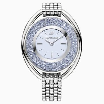 Montre Crystalline Oval, Bracelet en métal, bleu, ton argenté - Swarovski, 5263904