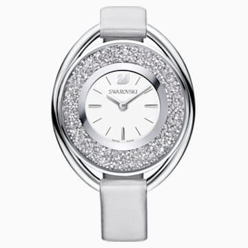 Crystalline Oval Saat, Kumaş Kordon, Gri, Gümüş Rengi - Swarovski, 5263907