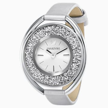 Crystalline Oval 手錶, 絲質錶帶, 灰色, 銀色 - Swarovski, 5263907