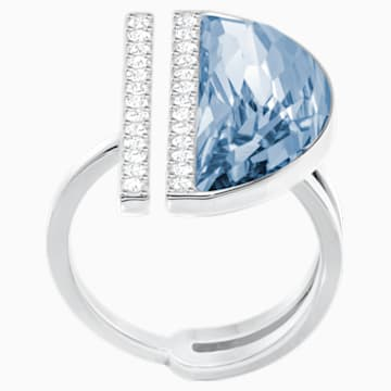 Glow Ring, Blue, Rhodium Plating - Swarovski, 5266703