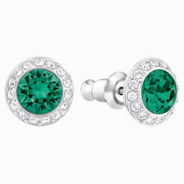 Angelic Pierced Earrings, Green, Rhodium plated - Swarovski, 5267105