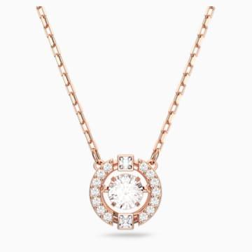 Swarovski Sparkling Dance Round 项链, 白色, 镀玫瑰金色调 - Swarovski, 5272364