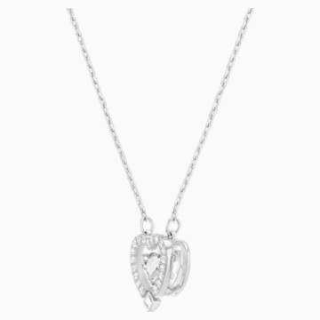Swarovski Sparkling Dance Heart Necklace, White, Rhodium plated - Swarovski, 5272365