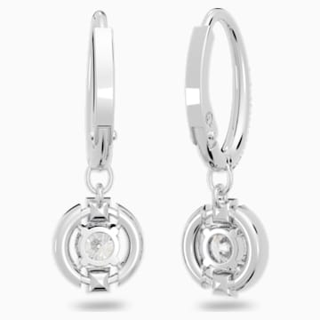 Swarovski Sparkling Dance Round 穿孔耳環, 白色, 鍍白金色 - Swarovski, 5272366