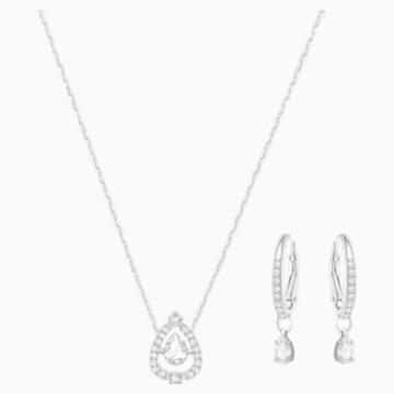 Sparkling Dance Pear Set, Small, White, Rhodium Plating - Swarovski, 5272368