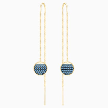 Ginger Chain Pierced Earrings, Blue, Gold-tone plated - Swarovski, 5273013