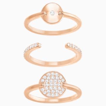 Ginger Ring Set, White, Rose-gold tone plated - Swarovski, 5284074