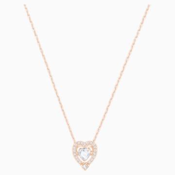 Collar Swarovski Sparkling Dance Heart, blanco, Baño en tono Oro Rosa - Swarovski, 5284188