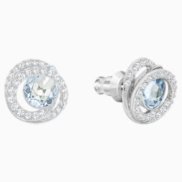 Generation Pierced Earrings, Blue, Rhodium plated - Swarovski, 5289026