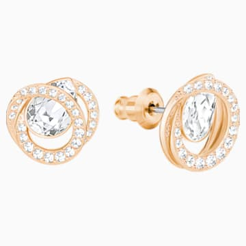 Generation Pierced Earrings, White, Rose-gold tone plated - Swarovski, 5289032