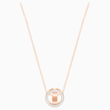Hollow Pendant, White, Rose-gold tone plated - Swarovski, 5289495